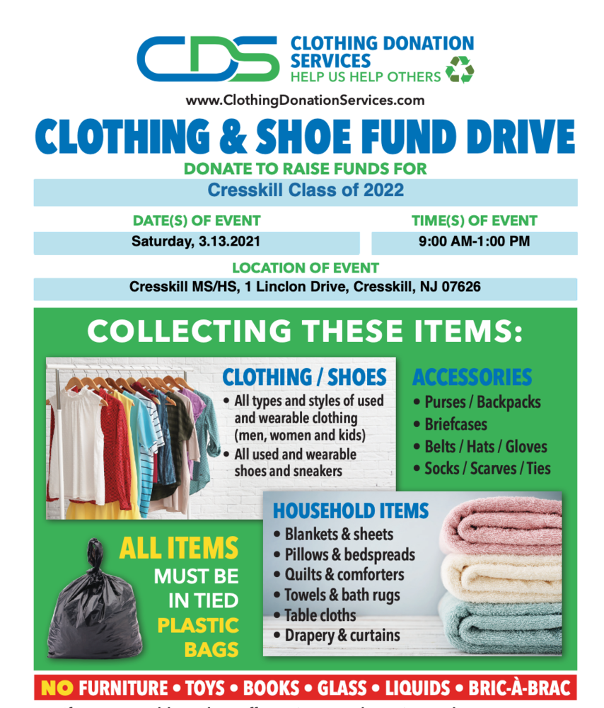 Class of 2022  Clothing Donation Drive 3/13